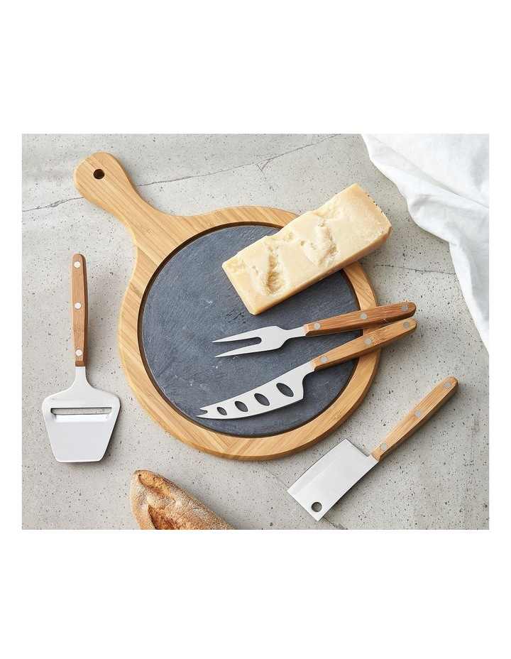 Essentials 5-Piece Bamboo and Slate Cheese Board Set image 1