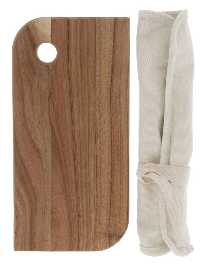 Acacia Cheese Board and Knife Set with Canvas Wrap image 1