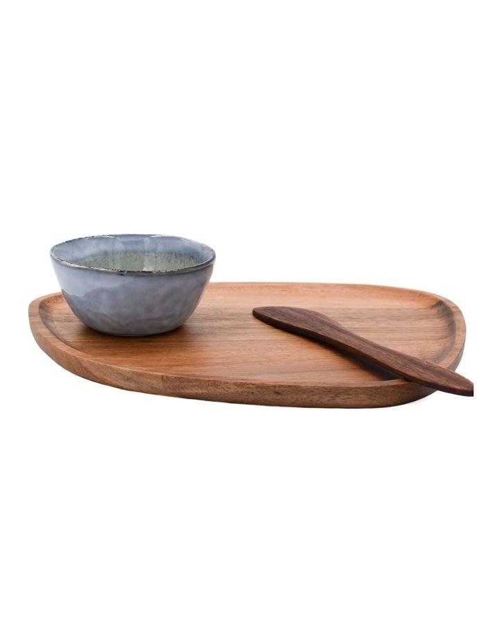 Acacia Plate, Dip Bowls & Knife image 1
