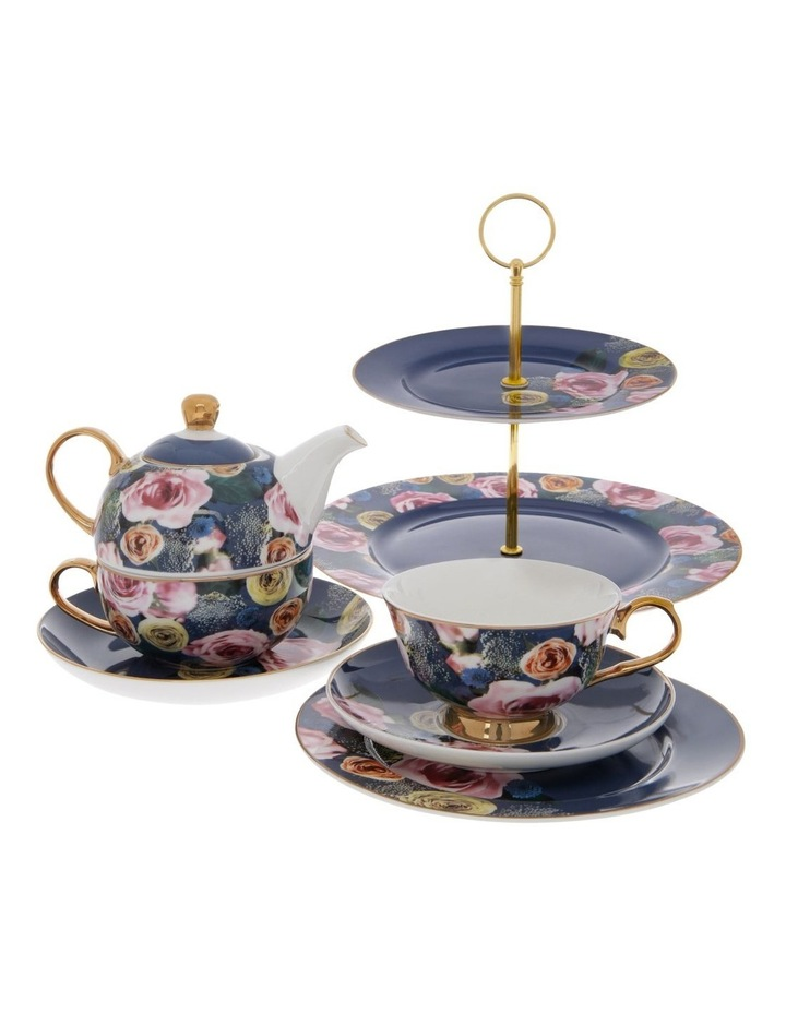Florence 2-Tier Floral Cake Stand in Navy image 3