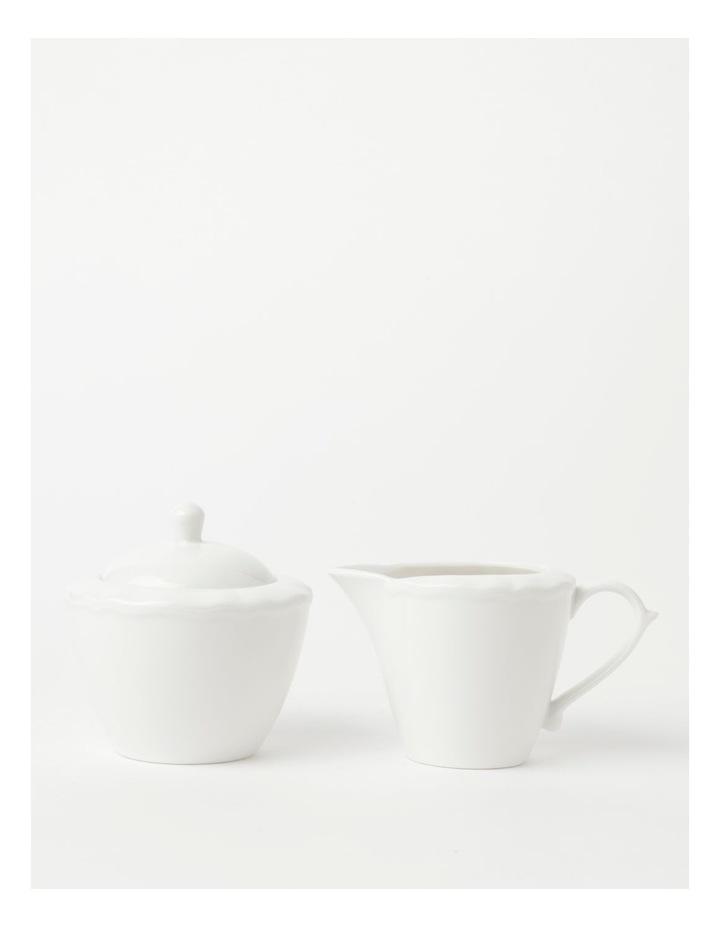 Heritage Scalloped Sugar Bowl & Creamer in White image 1