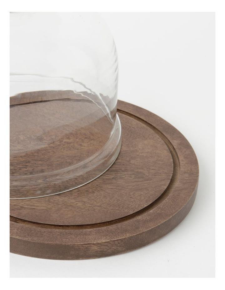 Heritage Walnut Look Small Glass Dome Wood Board 25cm x 19cm image 2