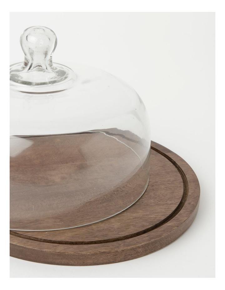 Heritage Walnut Look Large Glass Dome Wood Board 30 Rnd x21.5cm image 2