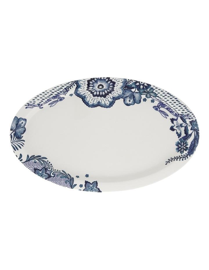 Blue Flower Oval Plate 35.5cm image 1