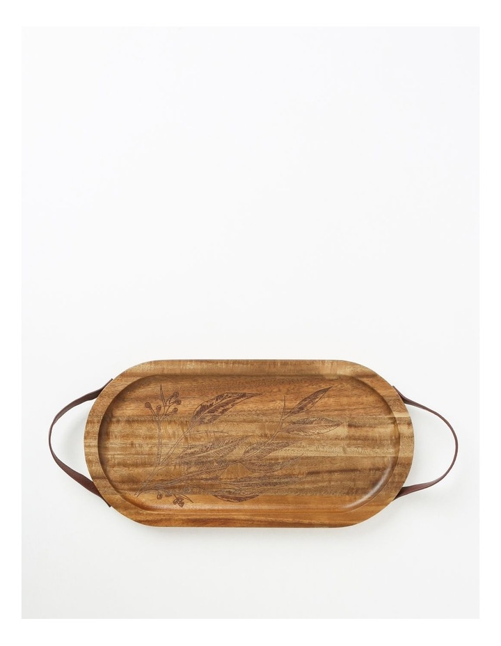 Gum Leaf Acacia Serving Tray with Leather Handles image 1