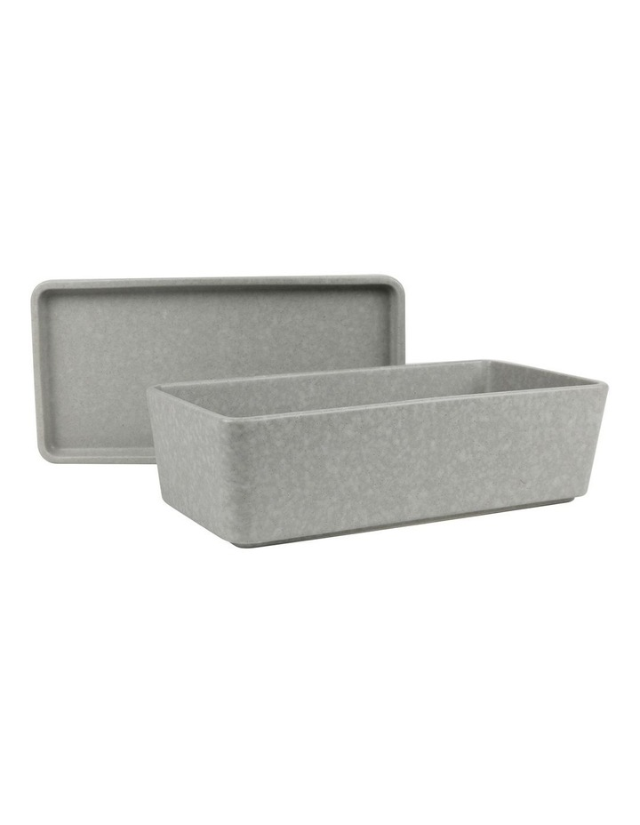 Stack, Serve & Store Rectangle Bowl & Plate - Reactive Glaze Grey image 2