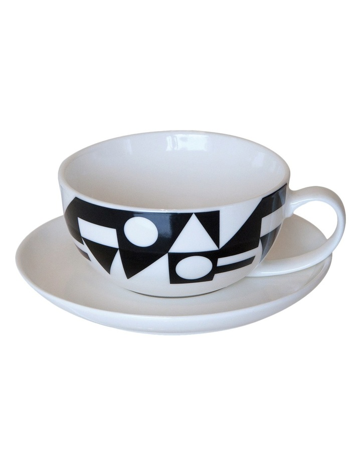 My Cup Tea Cup & Saucer, Set of 4 - Black & White Geo image 1