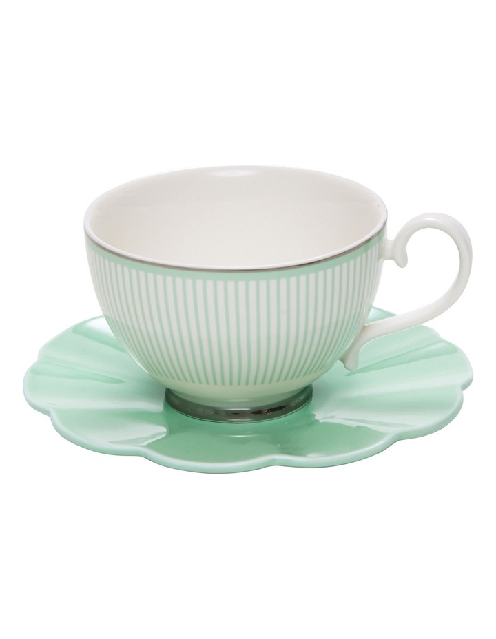 Eclectic Tea Cup And Saucer - 230Ml - Green image 2