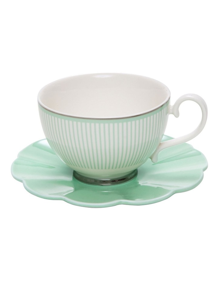 Eclectic Tea Cup And Saucer - 230Ml - Green image 1