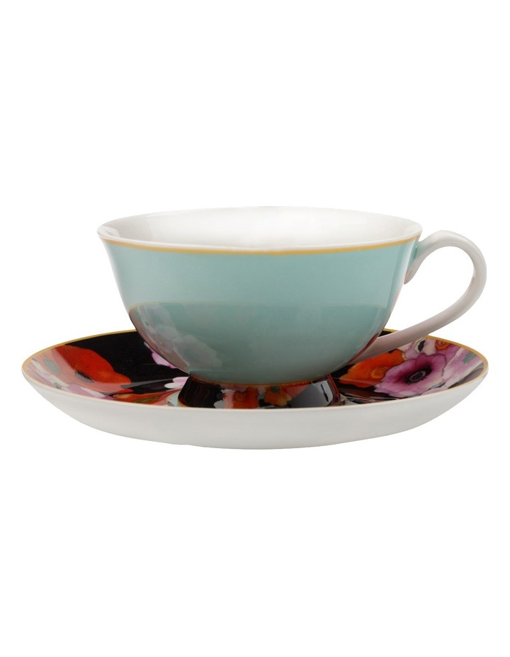 Cashmere Bloems Tea Cup & Saucer  Gift Boxed  200ml - Blue & Black image 1