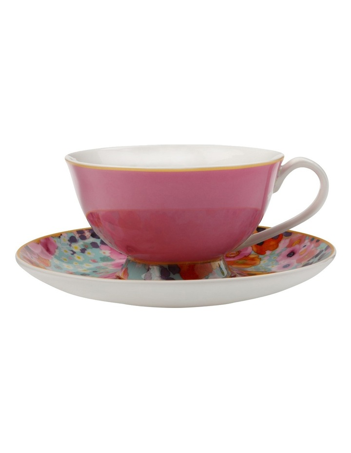Cashmere Bloems Tea Cup & Saucer  Gift Boxed  200ml - Pink & Blue image 1