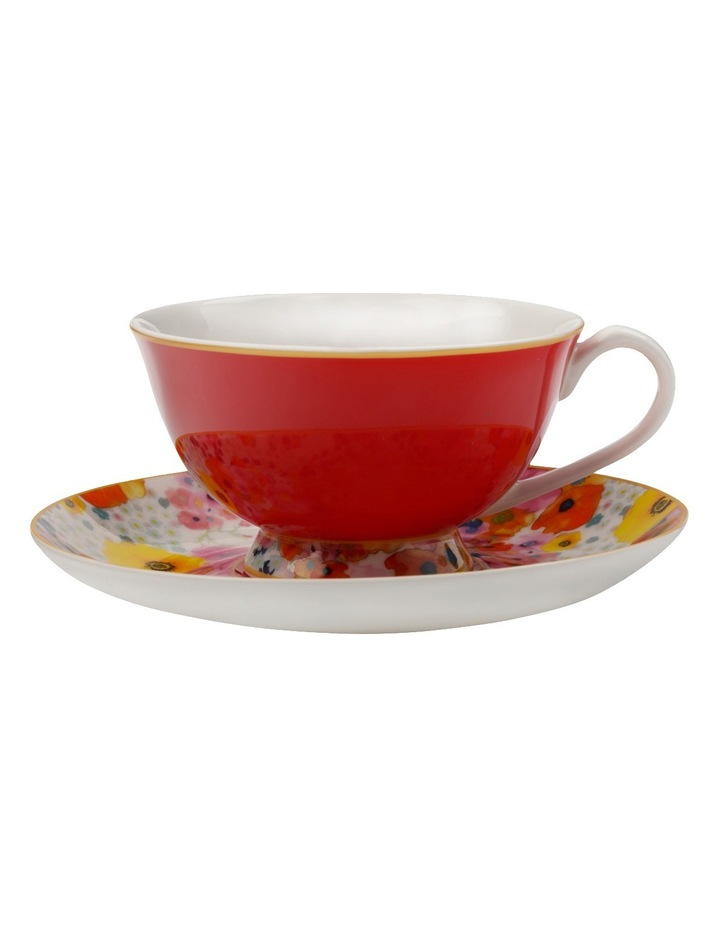 Cashmere Bloems Tea Cup & Saucer  Gift Boxed  200ml - Red & White image 1