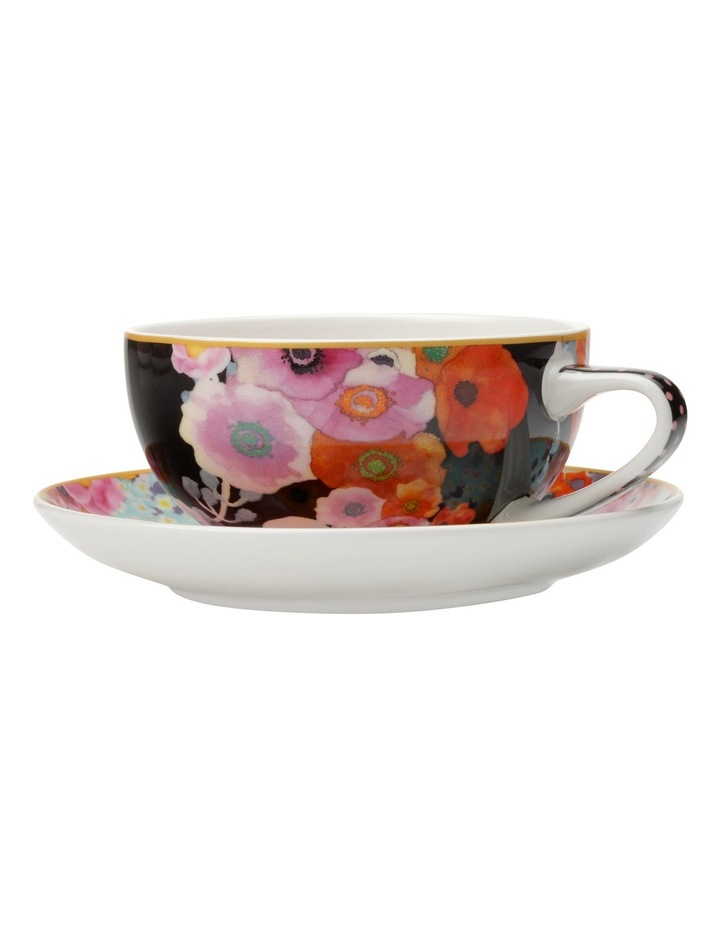 Cashmere Bloems Coupe Cup & Saucer 250ML Black/Blue Gift Boxed image 1