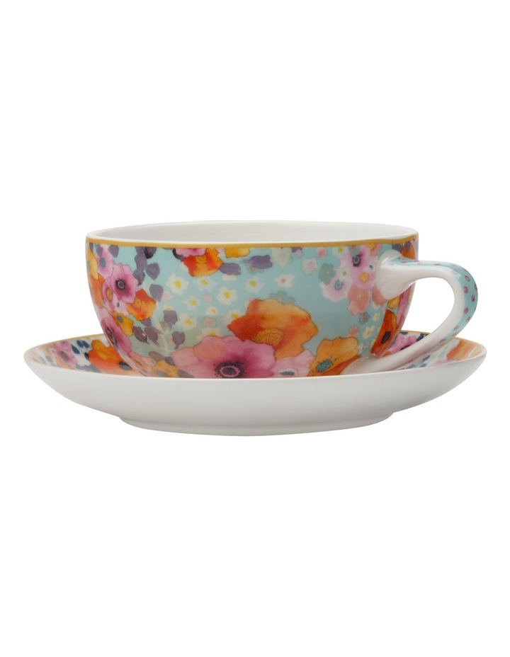 Cashmere Bloems Coupe Cup & Saucer 250ML Blue/Wht Gift Boxed image 1