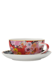 Maxwell & Williams - Cashmere Bloems Coupe Cup & Saucer 250ML Red/Blk Gift Boxed