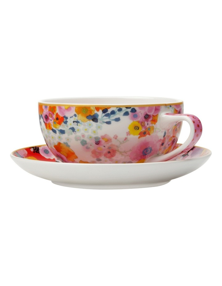 Cashmere Bloems Coupe Cup & Saucer 250ML White/Red Gift Boxed image 1