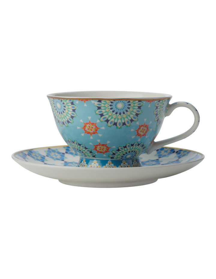 Teas & C's Isfara Foot Cup & Saucer Pashar Blue 200ML Gift Boxed image 1