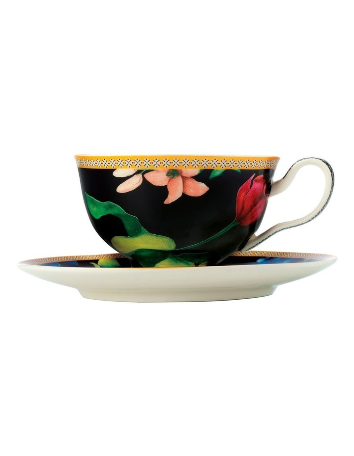 Teas & C's Contessa Footed Cup & Saucer 200ML Black Gift Boxed image 1