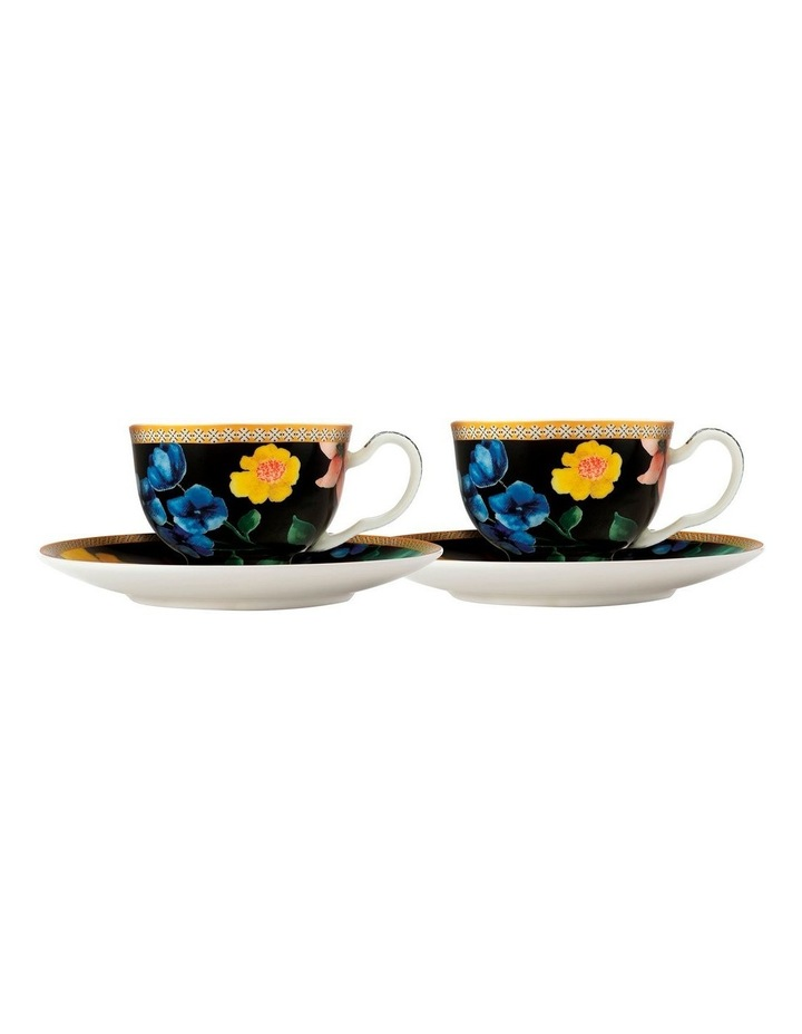 Teas & C's Contessa Demi Cup & Saucer 85ML Set of 2 Black Gift Boxed image 1