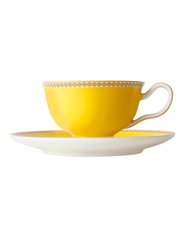 Teas & C's Classic Footed Cup & Saucer 200ML Yellow Gift Boxed image 1