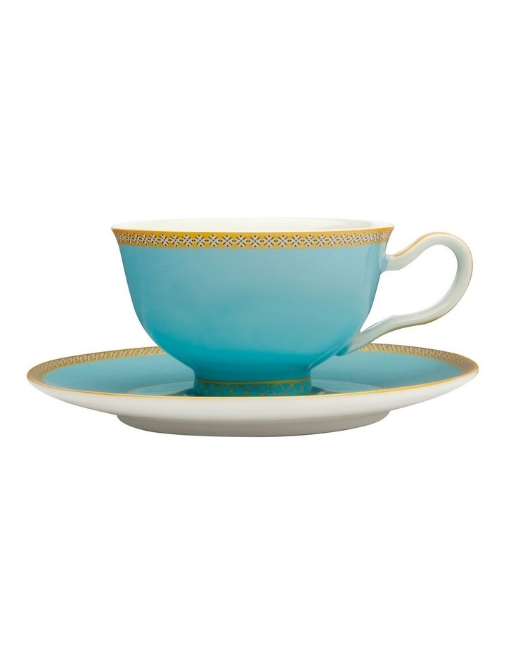 Teas & C's Classic Footed Cup & Saucer 200ML Turquoise Gift Boxed image 1