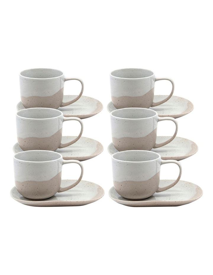 ROAM Tea Cup and Saucer Set - 240ml/16x11cm - Natural - Set of 6 image 1