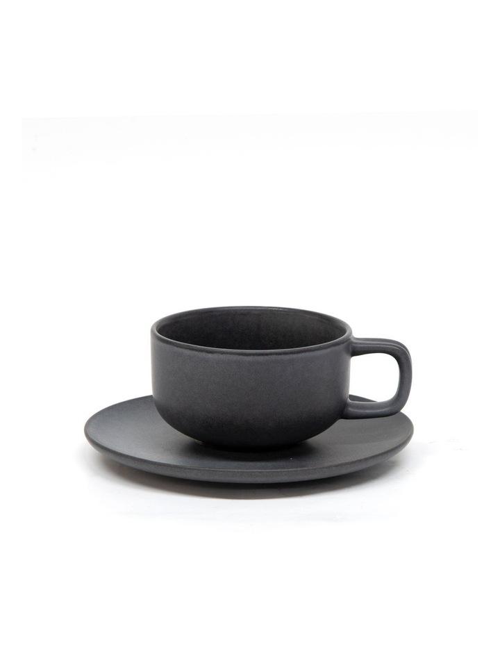 Hue Tea Cup and Saucer Set 200ml/15.5cm - Black - Set of 6 image 1