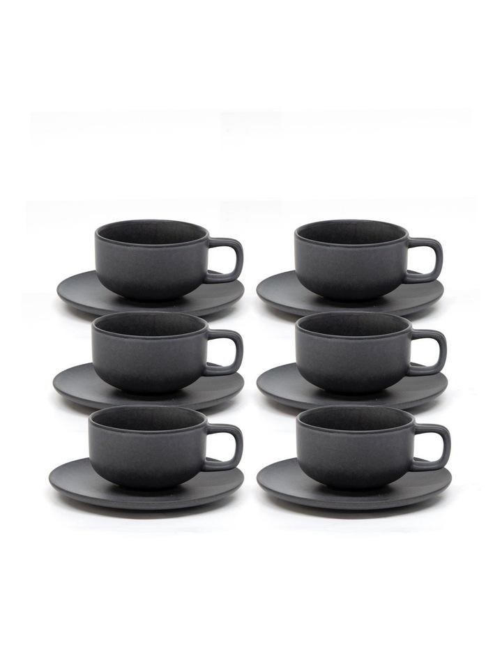 Hue Tea Cup and Saucer Set 200ml/15.5cm - Black - Set of 6 image 2