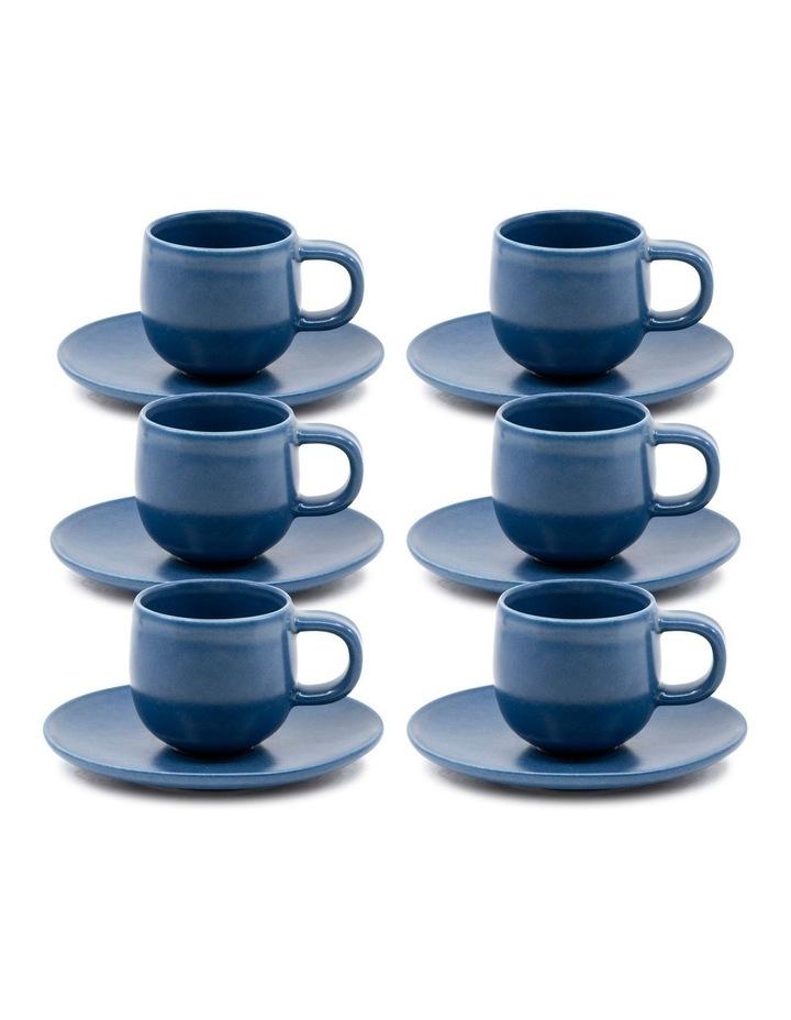 Hue Espresso Cup and Saucer Set 85ml/12cm - Blue - Set of 6 image 1