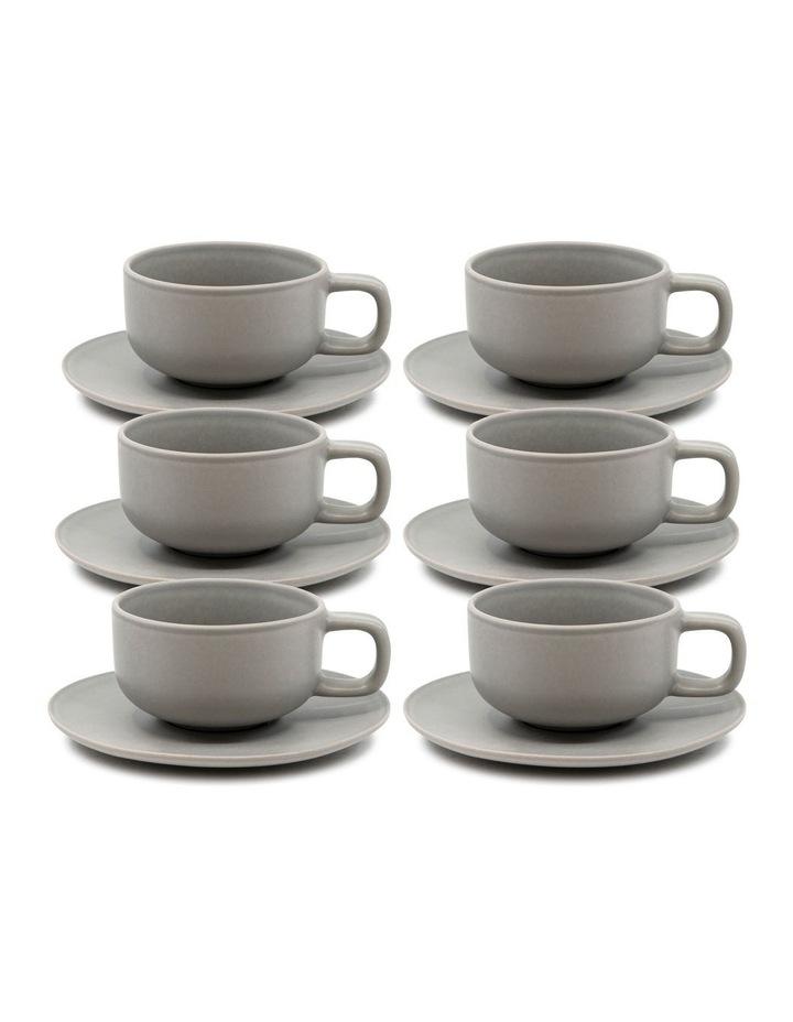 Hue Tea Cup and Saucer Set 200ml/15.5cm - Grey - Set of 6 image 1