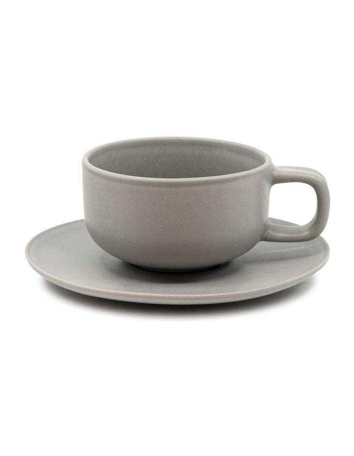 Hue Tea Cup and Saucer Set 200ml/15.5cm - Grey - Set of 6 image 2