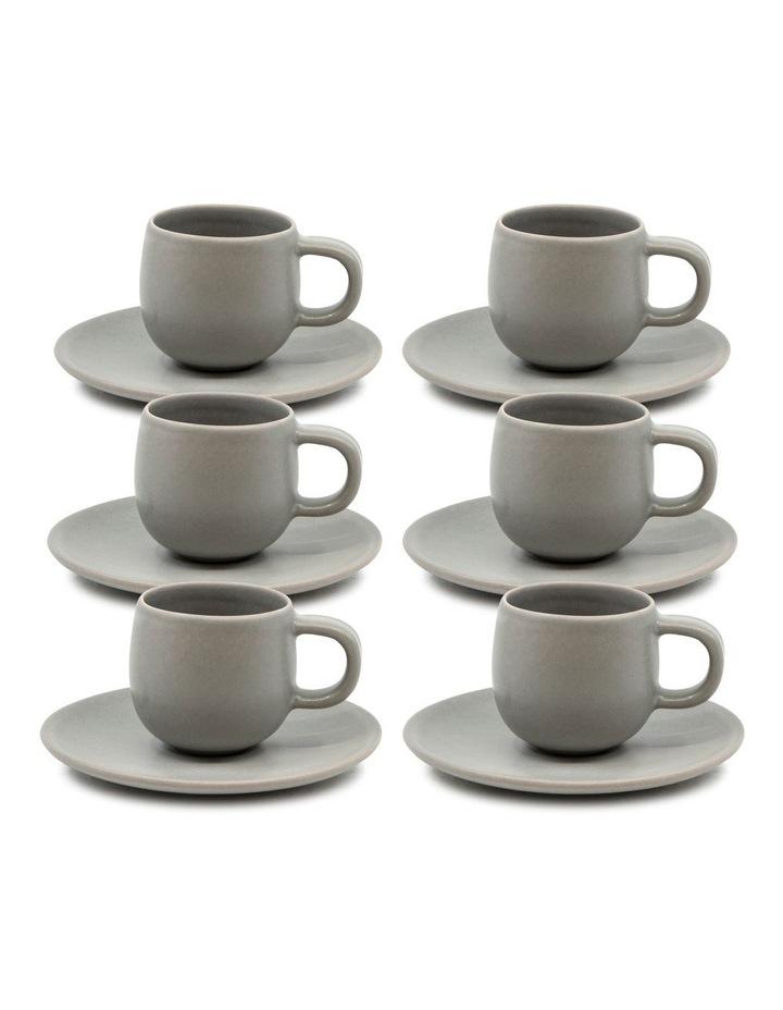 Hue Espresso Cup and Saucer Set 85ml/12cm - Grey - Set of 6 image 1