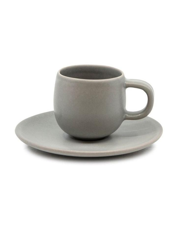 Hue Espresso Cup and Saucer Set 85ml/12cm - Grey - Set of 6 image 2