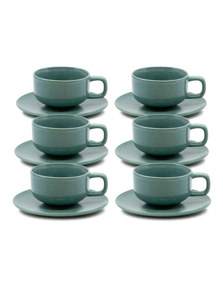 Hue Tea Cup and Saucer Set 200ml/15.5cm - Green - Set of 6 image 1