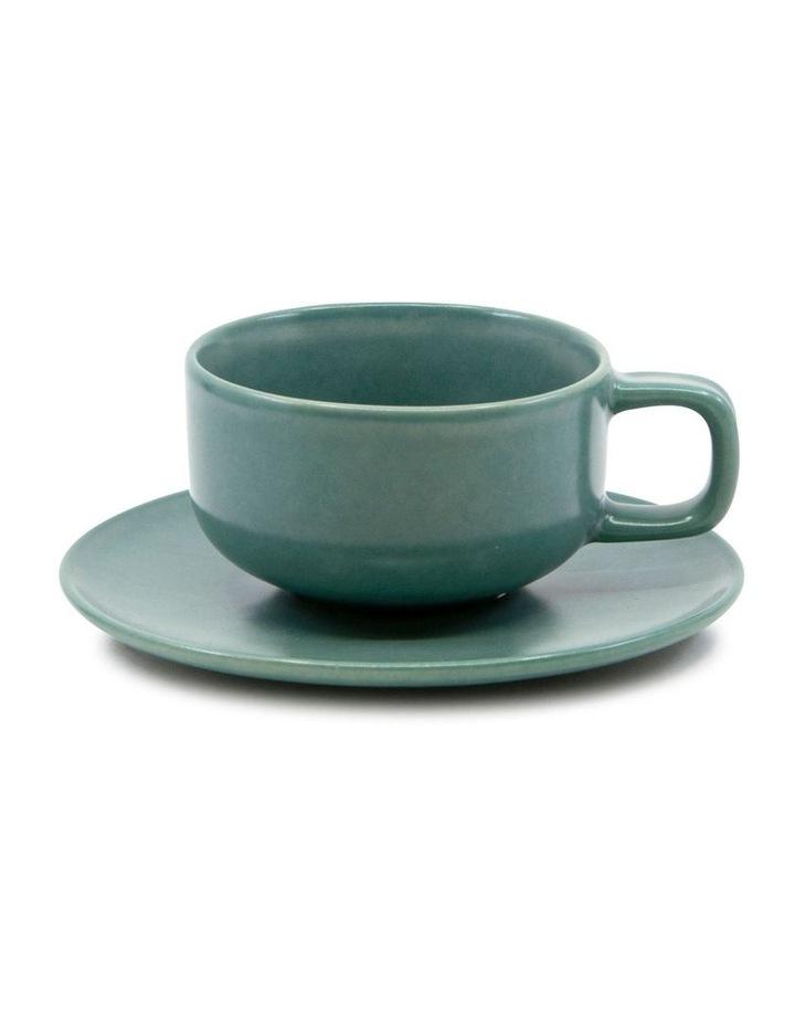 Hue Tea Cup and Saucer Set 200ml/15.5cm - Green - Set of 6 image 2