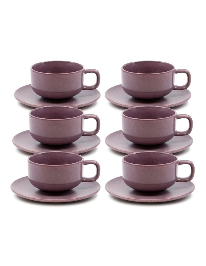 Hue Tea Cup and Saucer Set 200ml/15.5cm - Purple - Set of 6 image 1