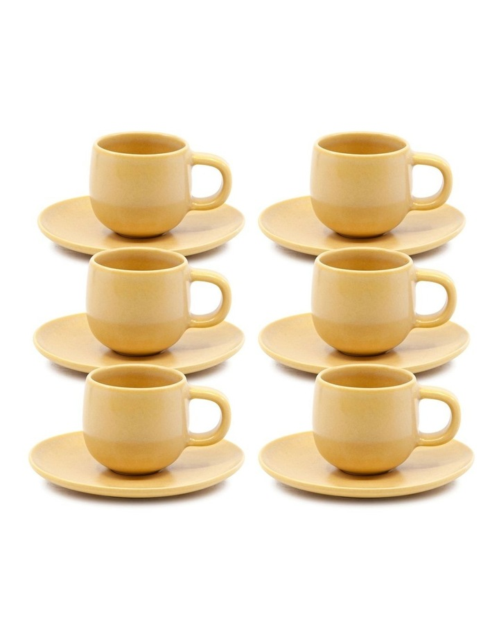 Hue Espresso Cup and Saucer Set 85ml/12cm - Yellow - Set of 6 image 1