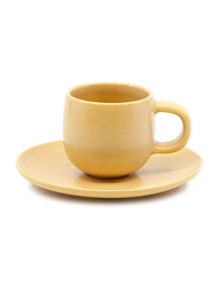 Hue Espresso Cup and Saucer Set 85ml/12cm - Yellow - Set of 6 image 2