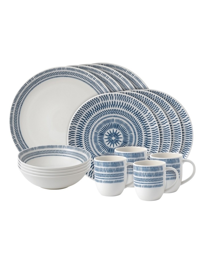 TW Chevron 16 Piece Dinnerset Dark Blue image 1