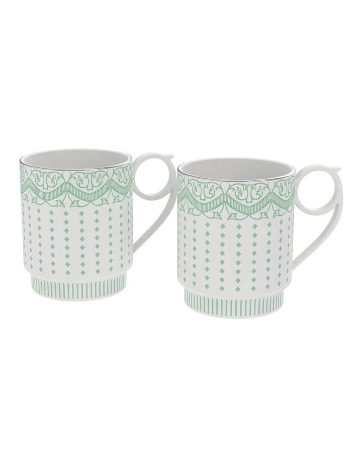 Eclectic Set of 2 Green Stripe Mugs  400ml image 1