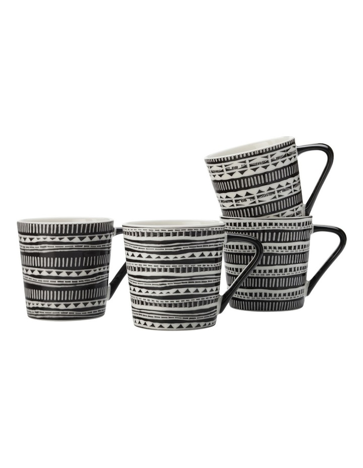 Aztec Mug Set of 4 400ML Black Gift Boxed image 1