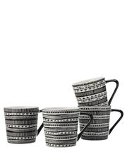 Maxwell & Williams - Aztec Mug Set of 4 400ML Black Gift Boxed
