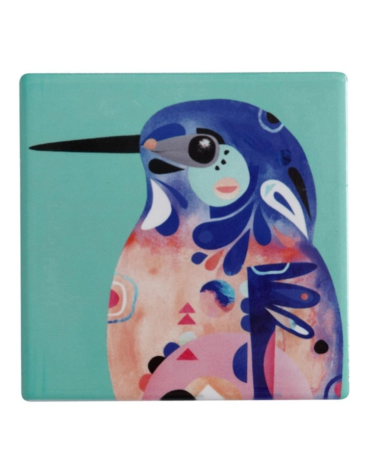 Pete Cromer Ceramic Square Tile Coaster 9.5cm Azure Kingfisher image 1