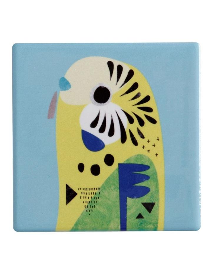 Pete Cromer Ceramic Square Tile Coaster 9.5cm Budgerigar image 1
