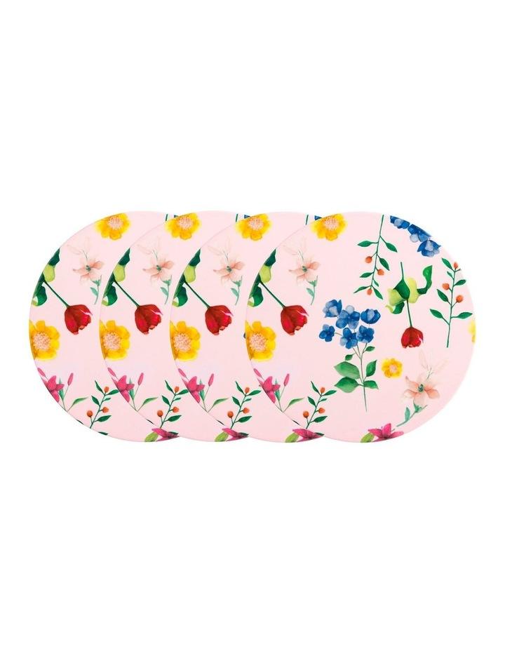 Teas & C's Contessa Ceramic Round Coaster Set of 4 Gift Boxed Rose image 1