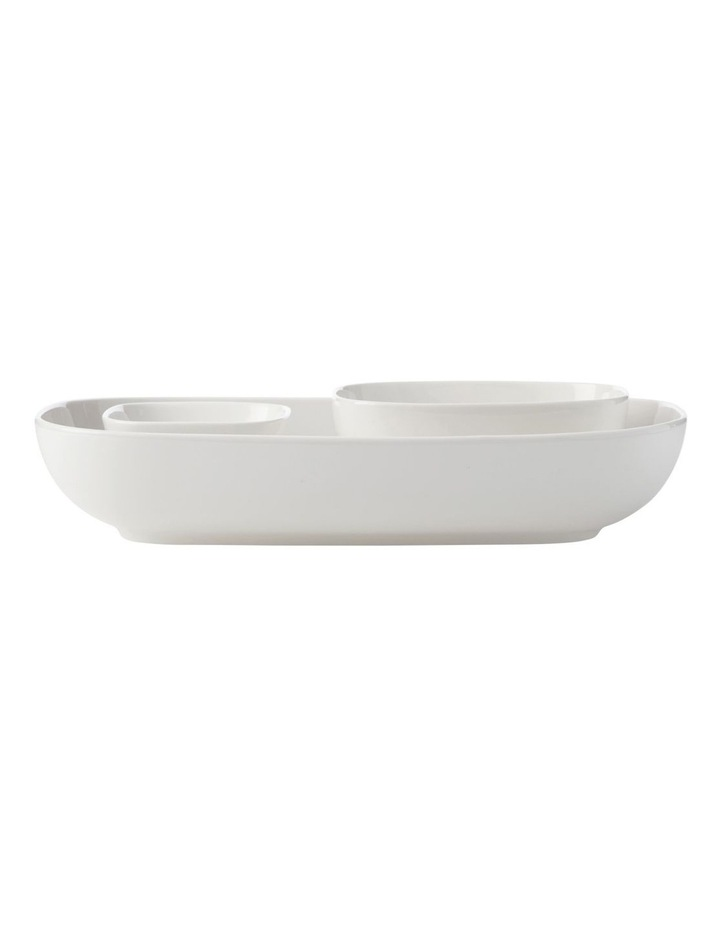 White Basics Rectangle Bowls And Square Bowl Set Gift Boxed image 1