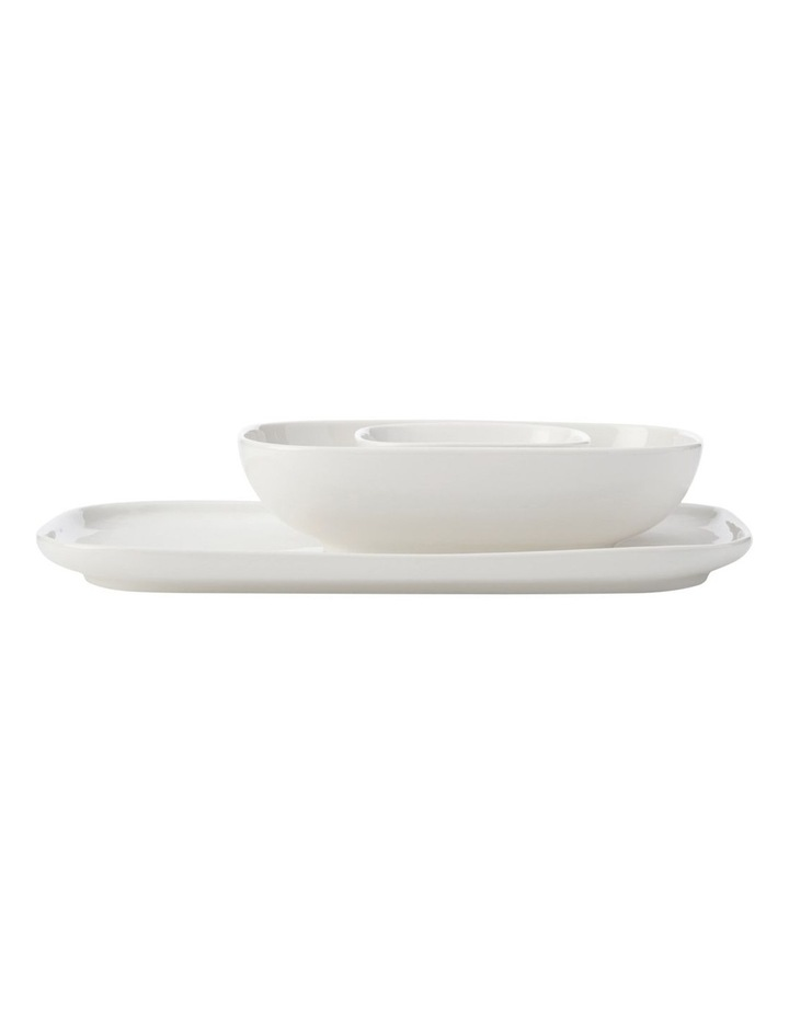 White Basics Rectangle Platter And 2 Bowl Set Gift Boxed image 1