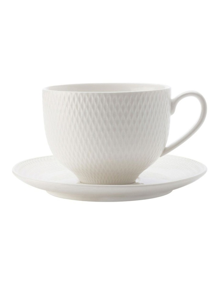 White Basics Diamonds Tea Cup & Saucer 210ml image 1