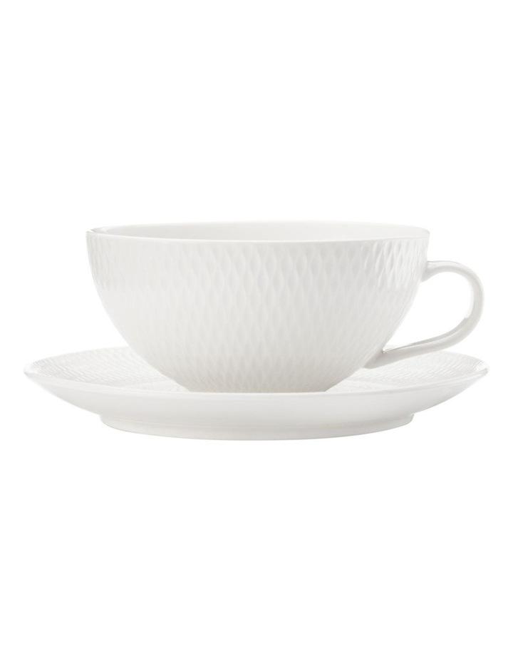 White Basics Diamonds Tea Cup & Saucer Low 300ML image 1