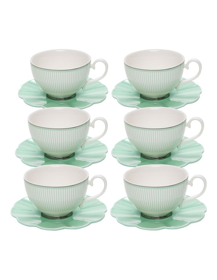 ECLECTIC Tea Cup and Saucer - 230ml - Green - Set of 6 image 1